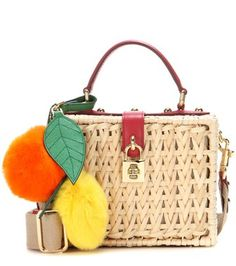Dolce & Gabbana - Borsa a tracolla Dolce Box in bambù con pelle e pelliccia -