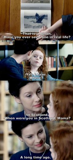 """When were you in Scotland, Mama?"" - Claire and young Brianna Diana Gabaldon Books, Diana Gabaldon Outlander Series, Outlander Book Series, Outlander Quotes, Outlander 3, Claire Fraser, Jamie Fraser, I Movie, Entertainment"