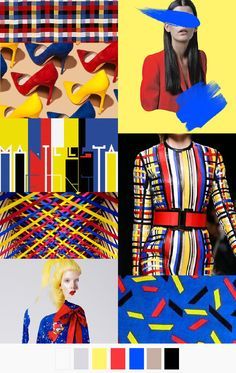 In class this week we learned about primary colors. Primary colors are blue, red and yellow. This mood board represent the three primary colors and how they are pleasing to the eye. Fashion Colours, Colorful Fashion, Arte Fashion, Fashion Design, Color Trends, Design Trends, Trends 2016, Textile Design, Pantone