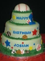3 tier sports theme birthday cake for kids with baseball on top.JPG