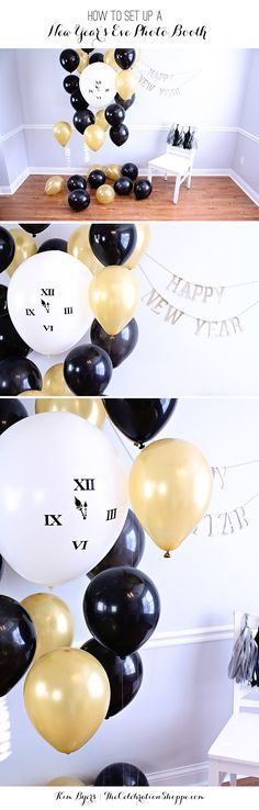 Create a fun Balloon New Years Eve photo backdrop to ring in the new year! For more NYE party ideas visit The Celebration Shoppe!