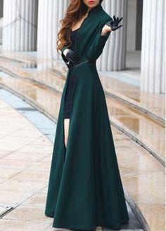Mandarin Collar Ankle Length Trench Coat Green