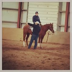 Team member Jen Ehle rides in the Theories  Methods of Eq Instruction Class.