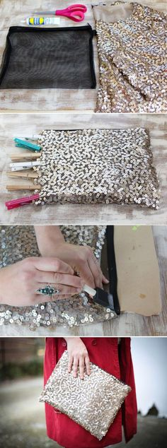DIY sequin purse from mesh bag & sequin fabric. Hand sew... Don't glue!