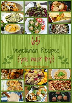 65 Easy Vegetarian Recipes You Must Try! A HUGE collection of 65 vegetarian recipes. This will give you Meatless Monday options for the whole year and then some! Vegetarian Main Dishes, Vegetarian Dinners, Vegetarian Recipes Easy, Vegetarian Cooking, Veggie Dishes, Vegetable Recipes, Real Food Recipes, Cooking Recipes, Healthy Recipes