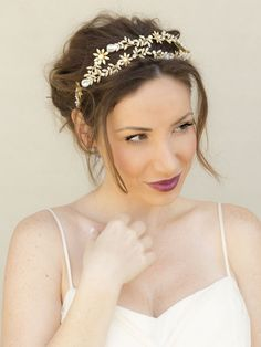 Taylor Rhinestone Gold Bridal Double Headpiece