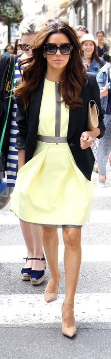 yellow  dress with blazer jacket #classy #springfling