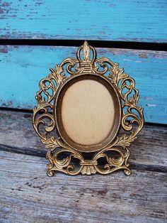Vintage Baroque Frame Gold Gilt Metal Easle by primitivepincushion, $23.99
