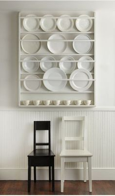 A plate rack in the Hamptons home of designer Tricia Foley For something similar consider the Decorative Plate Display Rack 195 from Etsy seller Nicolet Wood Products Decor, Home Organization, Shelves, Plate Racks, Decorative Plates Display, Plate Rack Wall, Wooden Plates, Wall Mount Plate Rack, Decorative Plates