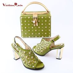 WesternRain 2017 Hollow Style Women 10cm Heels Sandals to match Gold Chain Handbag For Women Party