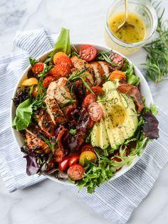 rosemary chicken, bacon and avocado salad / howsweeteats.com