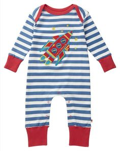 Piccalilly - Organic Cotton - Playsuit (convertible) - Rocket Applique (sizes 0-24 months)