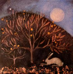 Catherine Hyde Artist - MOUNTED SMALL £60 Prints the song of the hare moonrise