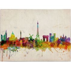 Trademark Art 'Paris Skyline' Canvas Art by Michael Tompsett, Size: 16 x 24, Multicolor