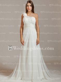 Chiffon Floral One-Shoulder Bridal Gown  http://www.inweddingdress.com/style-bc286.html
