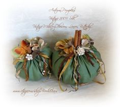 Upcycled Pumpkin Art - Vintage 100% Silk Fabric, Vintage Millinery Flowers and Leaves.