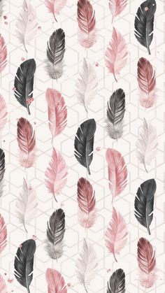 Wallpapers Tumblr, Cute Notebooks, Gris Rose, Kinds Of Salad, Feather Print, Flocking, Pink Grey, Iphone Wallpaper, Feather Wallpaper