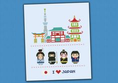 Japan icons (big version) - Mini people around the world cross stitch pattern