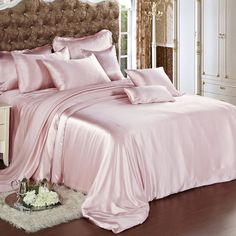 Suede Rose Silk Bed Linen