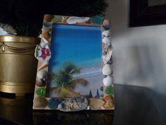 Pink Tulip Frame hand painted oyster shell by SeaArtCreationsLLC