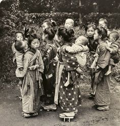 Young girls had to work carrying their younger siblings so their mothers could work for pay or farming. Old Japan
