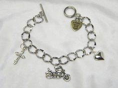 Born To Ride Charm Bracelet by CreationsbyDreamLady on Etsy, $10.00