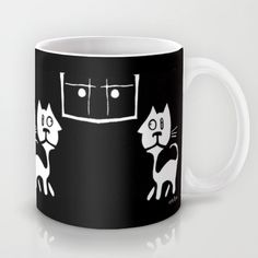'Double-Take' Cat Coffee Mug by e9Art. Quirky Cat Theme,  Surreal Cat, Cartoon Cat, Abstract Cat, Black White Kitchen Accent Motif, Cat Collectable, Gift for Cat Lover