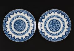 Pair of Blue and White Delftware Plates, 1713.