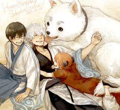 Shinpachi, Gintoki, Kagura, and Sadaharu
