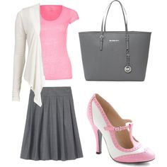 Light pink and gray outfit.  I want these shoes