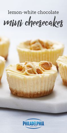 Lemon-White Chocolate Mini Cheesecakes – Spiff up your next social occasion—Easter, bridal showers, graduation parties, you name it—with these citrus-infused dessert bites. Perfect for entertaining, this is one recipe you don't want to pass up on this spring.
