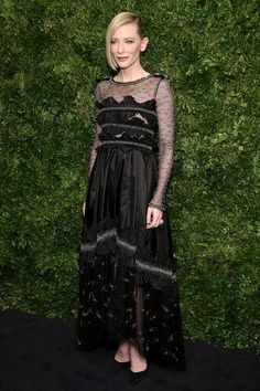 Cate Blanchett in a black sheer gown.