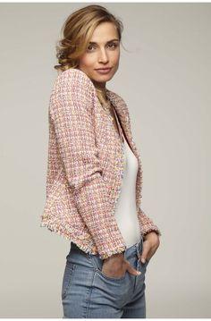 Veste courte en tweed fantaisie - blazers femme - naf naf