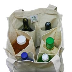 Amazon.com: Simple Ecology Organic Cotton Deluxe Grocery Bag with Bottle Sleeves - Natural (3 Pack): Reusable Grocery Bags: Kitchen & Dining
