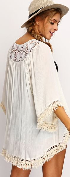Summer Fashion - Beige Fringe Lace Insert Kimono with denim shorts