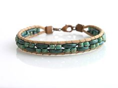 leather bracelet with crescent beads and rocail  http://www.sashe.sk/kacenkag/detail/mesiacikovy-s-kozou-zeleny