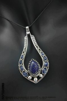 RESERVED Lapis and kyanite pendant - solid sterling silver wire wrapped pendant, soldered filigree bezel, dark royal blue gold teardrop