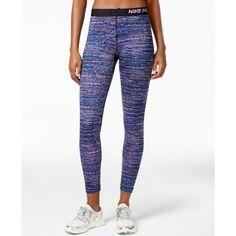 Nike Pro Hyperwarm Static-Print Leggings ($55) ❤ liked on Polyvore featuring nike