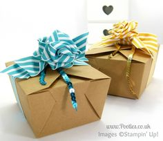 Stampin' Up! UK Independent Demonstrator Pootles - Ribbon Bow Take Out Box Tutorial