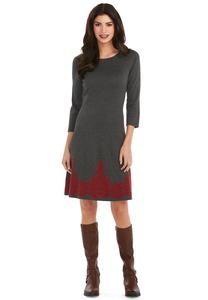 Border Print Sweater Dress
