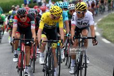 #TDF2017 Christopher Froome of Great Britain riding for Team Sky in the leader's jersey and Geraint Thomas of Great Britain riding for Team Sky ride talk while riding in the peloton during stage 9 of the 2017 Le Tour de France, a 181.5km stage from Nantua to Chambéry on July 9, 2017 in Chambery, France.
