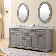 "Found it at Wayfair - Colchester 72"" Double Sink Bathroom Vanity Set with Faucets - Grey"
