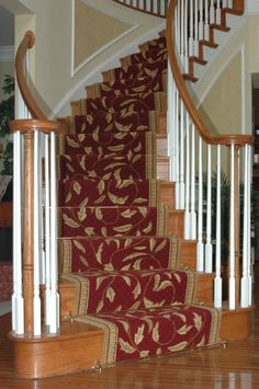 Traditional staircase with beautiful carpet stair runner #traditional #stairrunner #stairs #red #oriental #LangCarpet