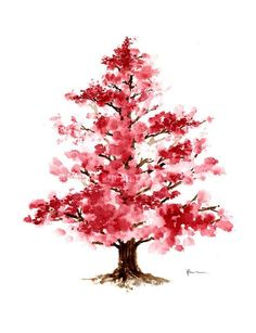 Cherry Blossom Tree Watercolor by ColorWatercolor on Etsy
