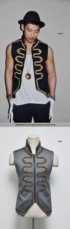 Runway Lux Gold Embroidery Napoleon Zip-Up Vest By Guylook.com