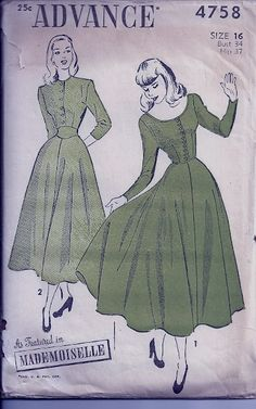 Classic Flared Dress with Fitted Waist Advance by PennyPC Vintage Dress Patterns, Clothing Patterns, Vintage Dresses, Vintage Outfits, 1940s Fashion, Vintage Fashion, Vestidos Retro, Moda Vintage, Costume