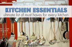 Great list of kitchen essentials that every kitchen must have. These are the things I could live without! Awesome resource and great list for those starting a house.