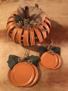 Uploaded by J. Krenicky Uploaded by J. Easy Fall Crafts, Fall Diy, Thanksgiving Crafts, Holiday Crafts, Crafts To Make, Jar Lid Crafts, Mason Jar Crafts, Mason Jar Lids, Fall Mason Jars