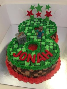 Number Minecraft Cake (I think this would be cooler if it were pixellized rather than rounded) 8th Birthday Cake, Minecraft Birthday Cake, Boy Birthday Parties, Minecraft Cupcakes, Easy Minecraft Cake, Minecraft Ideas, Birthday Ideas, Mine Craft Party, Number Cakes