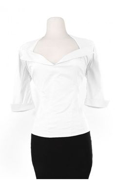 This retro top with wide collar and half sleeves is the perfect companion to any vintage-style skirt, capri pants, or jeans. It is made of a stretch poplin with a zipper down the back to be form-fitting and body-conscious, it is a must have separate! - See more at: http://www.pinupgirlclothing.com/doris-mayday-top-wt.html#sthash.ATPg6W5Q.dpuf